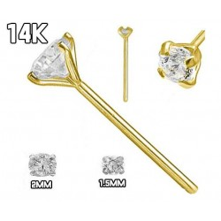 14Kt Yellow Gold Nose Stud,with Cubic Zirconia in Prong Setting