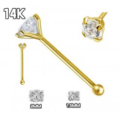 Nose Bones, 14Kt Yellow Gold With Cubic Zirconia in Prong Setting
