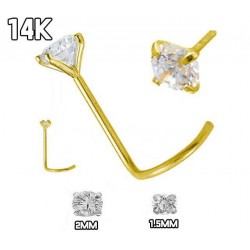 Nose Screw, 14Kt Yellow Gold With Cubic Zirconia in Prong Setting