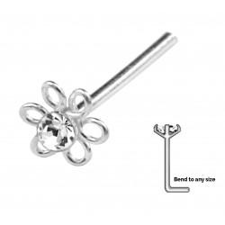 Silver Nose Stud Flower With Gem