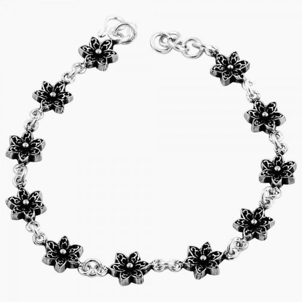 Six Petal Flower Link Bracelet Oxidized