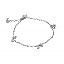 Double Heart Charms Anklet With a Bell