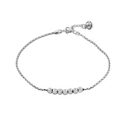 925 Sterling Silver Balls Snake Chain Anklet With a Bell