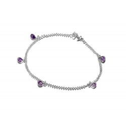 Chain with 5 Light Purple Tear Drop Crystals Anklets