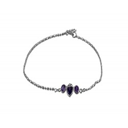 Chain with  Purple Heart And 2  Round Crystals Anklet