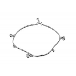 Anklet with  2 Bead  and  3 Clear Tear Drop Crystal
