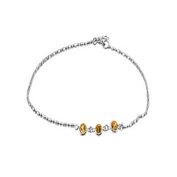 Anklet  with 3 Round champagne Crystals