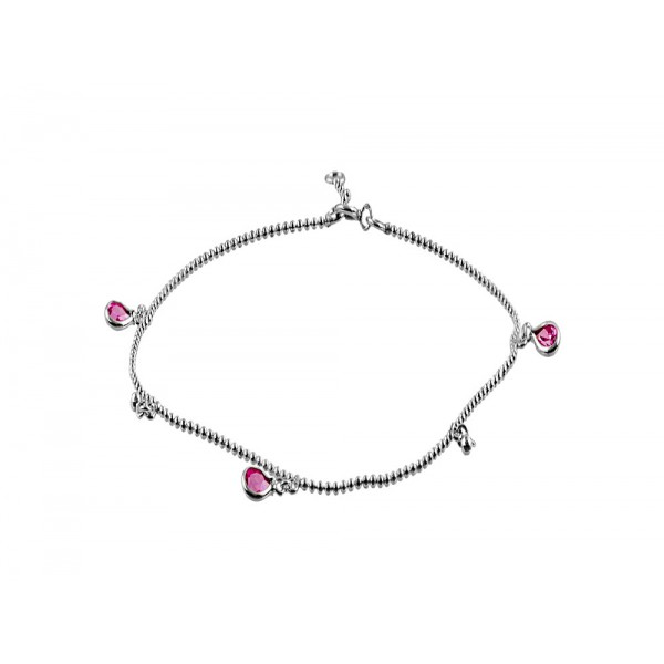 Anklet with 2 Beads and  3 Pink Tear Drop Crystal