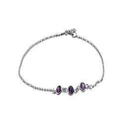 Anklet with 3 Round Purple Crystals