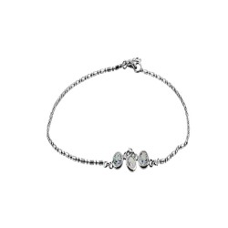 Anklet with 3 Round Clear Crystal