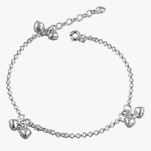 3 Double Puffed Heart Charm Bracelet