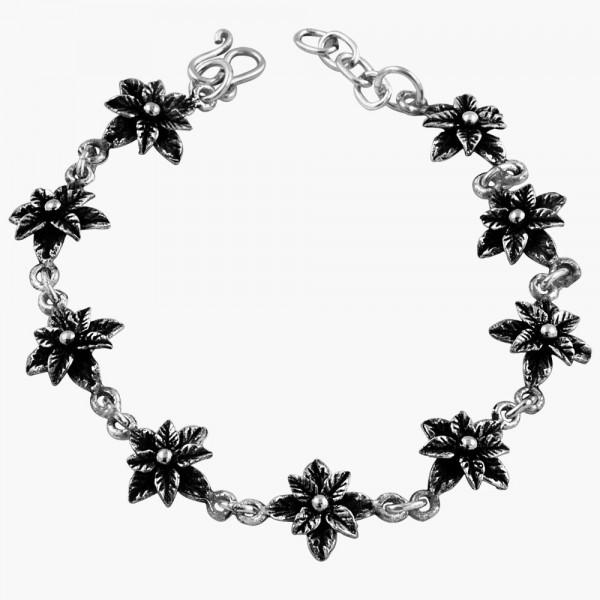 Double Flower Link Bracelet. Oxidized