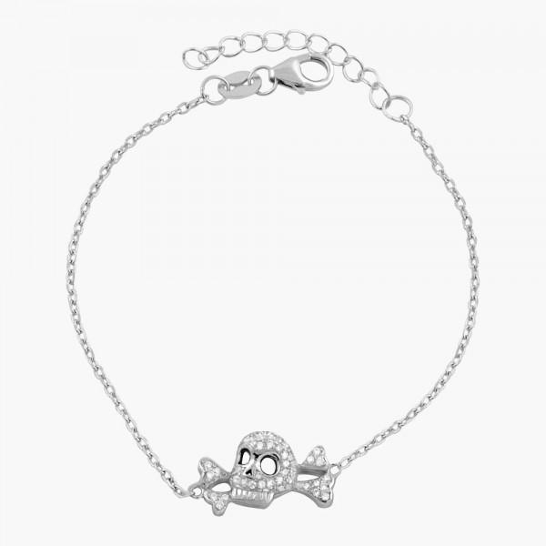 Skull With Crossbone Crystal  Adjustable Bracelet