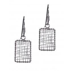 Rectangle Wire Wrap Nest Hook Earring