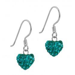 Full 8 MM Heart CZECH Crystal Hook Earring