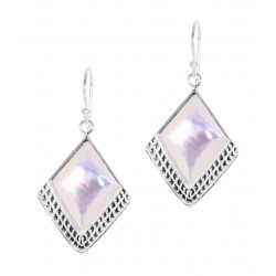 White Mother of Pearl Square Gem  Half Textured Dangle Hook Earring