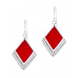 Red Square Gem  Half Textured Dangle Hook Earring