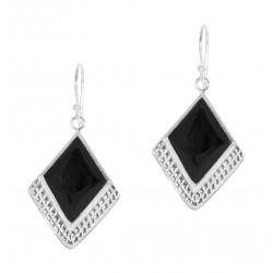 Black Square Gem  Half Textured Dangle Hook Earring