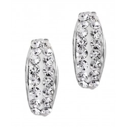 Double Rows of Czech Crystals hinged snap back Earring