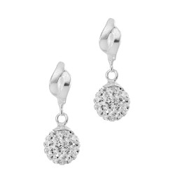 Twist Top With Dangling Czech Crystal Ball  hinged snap back Earring