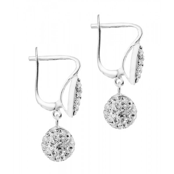 Oval Top With Dangling Czech Crystal Ball Latch back Earring