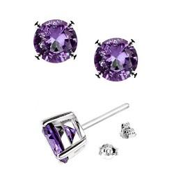 .925 Sterling Silver Round Shape Purple Cubic Zirconia Stud Earrings