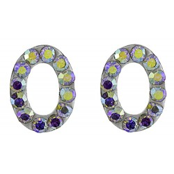 Oval Earring Cutout With  Crystal
