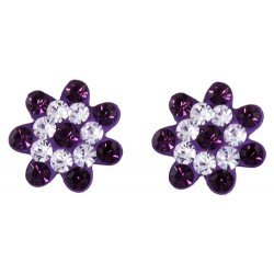 Flower With Two Tone Stud Earring