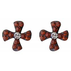 Iron Cross With Two Tone Stud Earring