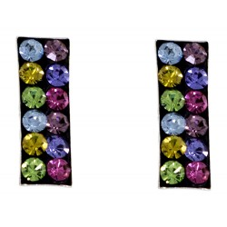 Multi Color Crystal Rectangle Stud Earring