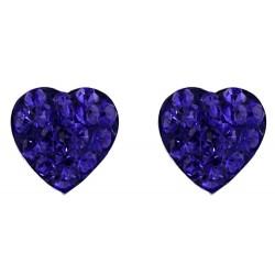 Dark Blue Crystal Heart Stud Earring