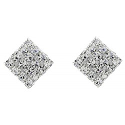 Clear Micro Pave Square Stud Earrings