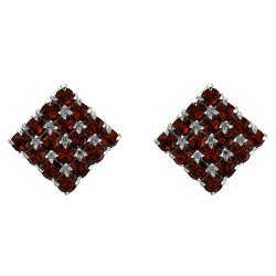 Red Micro Pave Square Stud Earrings