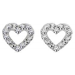 Cut Out Crystal Heart Stud Earring