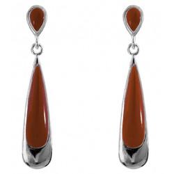 Inlay Long Teardrop Earrings
