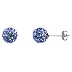 Aqua 8 mm  Crystal  Shamballa Stud Earrings