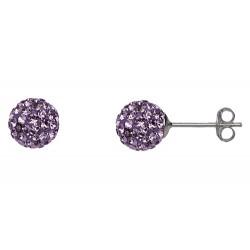 Light Amethyst 8 mm Crystal  Shamballa Stud Earrings