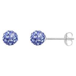 Capri Blue 6 mm Crystal  Shamballa Stud Earrings