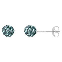Emerald  6 mm Crystal  Shamballa Stud Earrings