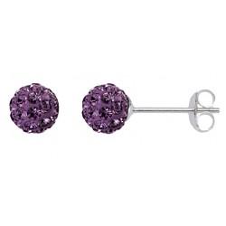 Light Amethyst 6 mm Crystal  Shamballa Stud Earrings