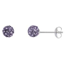 Violet  6 mm Crystal  Shamballa Stud Earrings