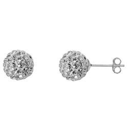 Clear 8 mm Crystal  Shamballa Stud Earrings