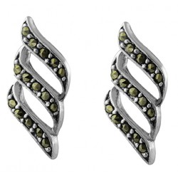 3 Wave Cut Out Marcasite Stud Earring