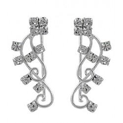 Vine Of Flowers With Clear Crystal Hook Earring