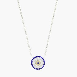 Bohemian Style Clear And Blue Crystal  Necklace