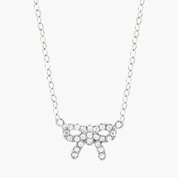 Small Bow Clear Crystal  Necklace