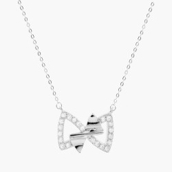 Double Bow Clear Crystal  Necklace