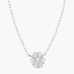 7 Clear Crystal Flower  Necklace