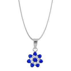 Two Tone Crystal Small Flower Pendant