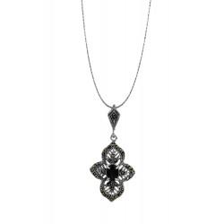 Marcasite Black Sapphire Flower Pendant